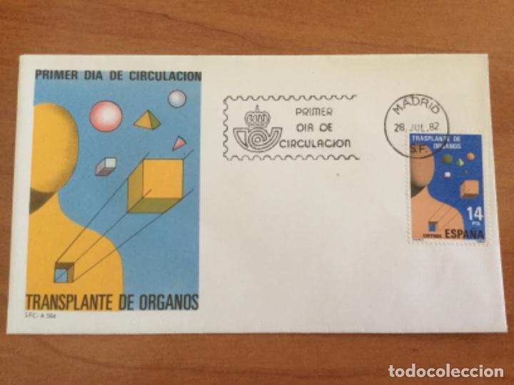 ESPAÑA 1982 SOBRE PRIMER DÍA. TRANSPLANTE DE ÓRGANOS (Sellos - Historia Postal - Sello Español - Sobres Primer Día y Matasellos Especiales)