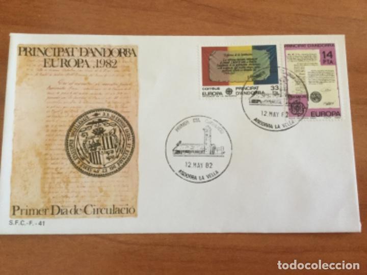 ESPAÑA 1982 SOBRE PRIMER DÍA. EUROPA 1982 PRINCIPADO DE ANDORRA (Sellos - Historia Postal - Sello Español - Sobres Primer Día y Matasellos Especiales)