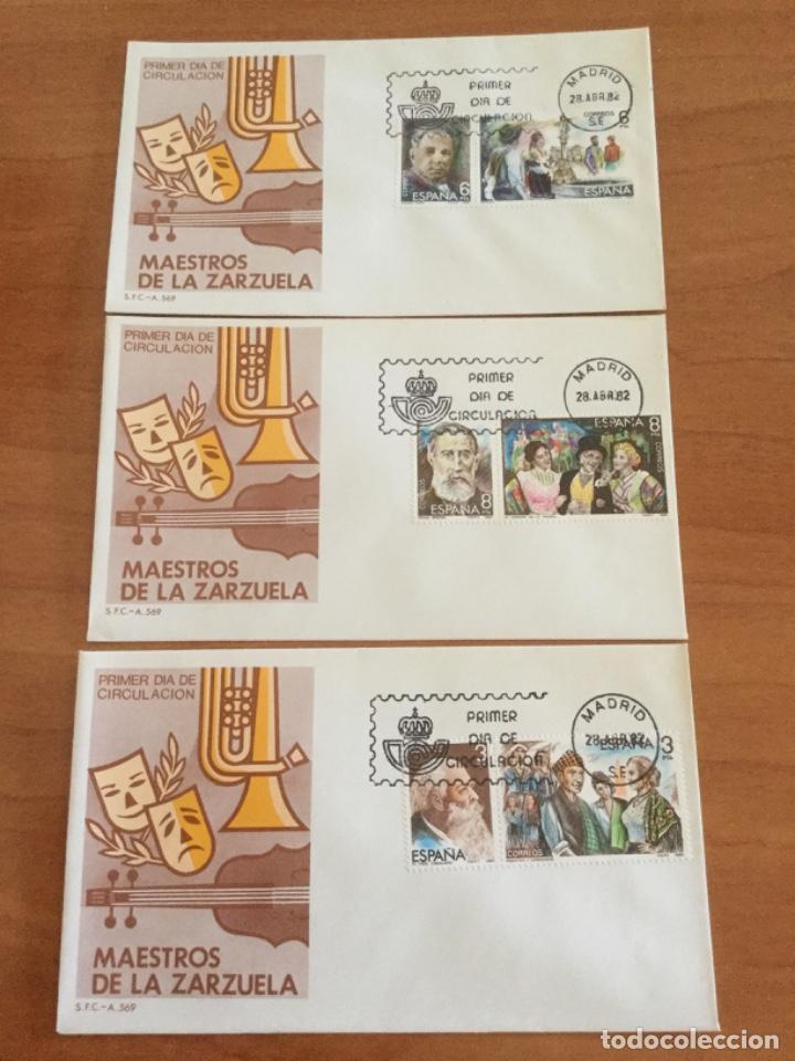 ESPAÑA 1982 TRES SOBRES PRIMER DÍA. MAESTROS DE LA ZARZUELA (Sellos - Historia Postal - Sello Español - Sobres Primer Día y Matasellos Especiales)