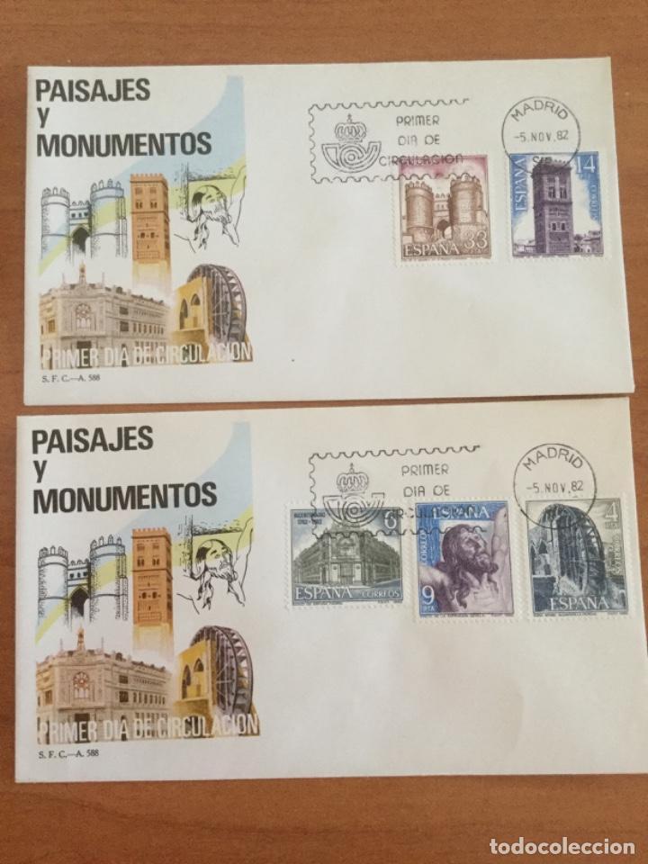 ESPAÑA 1982 DOS SOBRES PRIMER DÍA. PAISAJES Y MONUMENTOS (Sellos - Historia Postal - Sello Español - Sobres Primer Día y Matasellos Especiales)