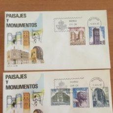 Sellos: ESPAÑA 1982 DOS SOBRES PRIMER DÍA. PAISAJES Y MONUMENTOS. Lote 218806375