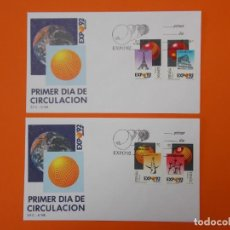 Sellos: EXPO 92' SEVILLA - EDIFIL 2990/91/92/93 COMPLETA - MATASELLO 1989 - SOBRE PRIMER DIA ... L2001. Lote 219063325