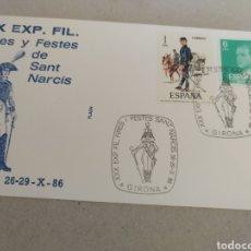 Sellos: RARO SOBRE FLASH XX EXP. FIL. FIRES Y FESTES DE SANT NARCIS. GIRONA 26-29 OCTUBRE 1986. Lote 219067755