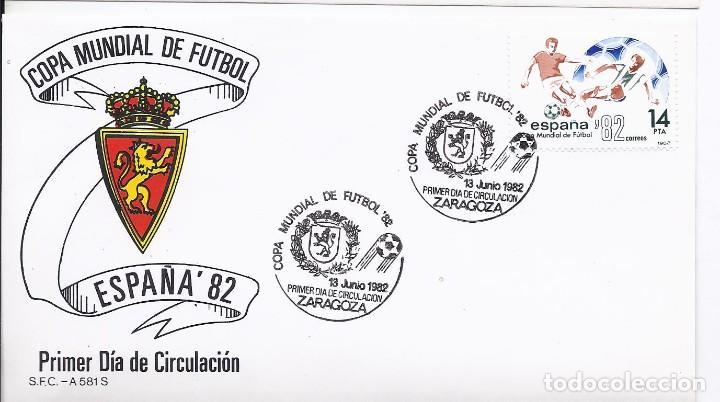 SPD COPA MUNDIAL DE FUTBOL ESPAÑA 82 SEDE ZARAGOZA CON ESCUDO DEL ZARAGOZA Y LA CIUDAD (Sellos - Historia Postal - Sello Español - Sobres Primer Día y Matasellos Especiales)