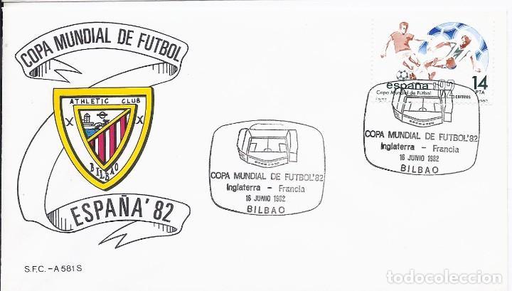 SPD COPA MUNDIAL DE FUTBOL ESPAÑA 82 PARTIDO INGLATERRA-FRANCIA.SEDE BILBAO (Sellos - Historia Postal - Sello Español - Sobres Primer Día y Matasellos Especiales)