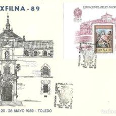 Sellos: SOBRE , CANCELADO CON EL PRIMER DIA EXFILNA 1989 EDIFIL 3012 -TOLEDO. Lote 219716055