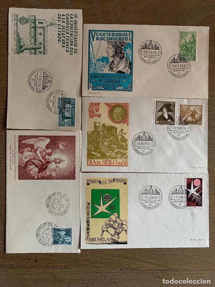 5 SOBRES DE PRIMER DIA DECADA 1950. (Sellos - Historia Postal - Sello Español - Sobres Primer Día y Matasellos Especiales)