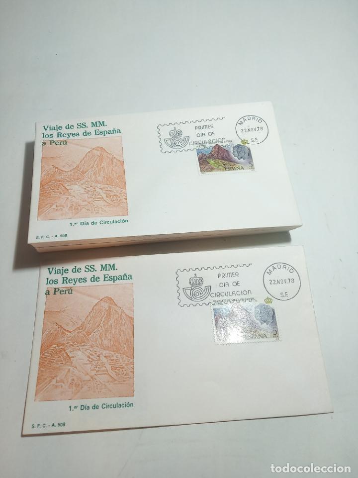 LOTE VARIADO DE 39 SOBRES VIAJE DE SS. MM. LOS REYES DE ESPAÑA A PERÚ. 22.11.78. (Sellos - Historia Postal - Sello Español - Sobres Primer Día y Matasellos Especiales)