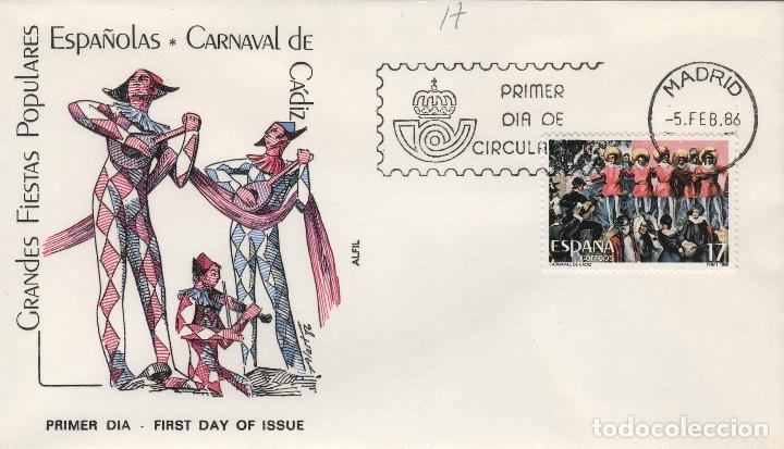 1986 ED GRANDES FIESTAS POPULARES , CARNAVAL DE CÁDIZ . SOBRE ALFIL PRIMER DIA SPD (Sellos - Historia Postal - Sello Español - Sobres Primer Día y Matasellos Especiales)
