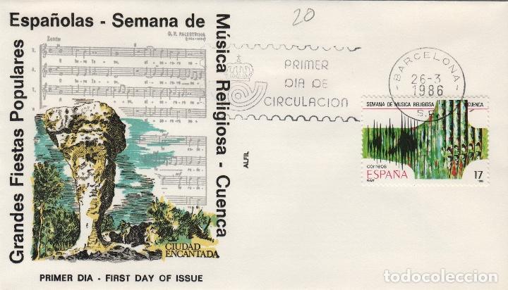 1986 ED GRANDES FIESTAS POPULARES , MÚSICA RELIGIOSA CUENCA . SOBRE ALFIL PRIMER DIA SPD (Sellos - Historia Postal - Sello Español - Sobres Primer Día y Matasellos Especiales)