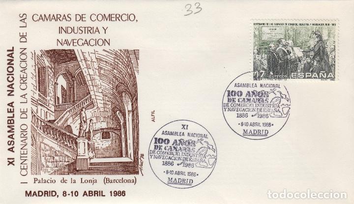 1986 ED 2845 I CENTENARIO CÁMARAS DE COMERCIO INDUSTRIA . SOBRE ALFIL PRIMER DIA SPD (Sellos - Historia Postal - Sello Español - Sobres Primer Día y Matasellos Especiales)