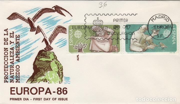 1986 ED 2847/8 PROTECCION DE LA NATURALEZA , EUROPA 86 . SOBRE ALFIL PRIMER DIA SPD (Sellos - Historia Postal - Sello Español - Sobres Primer Día y Matasellos Especiales)