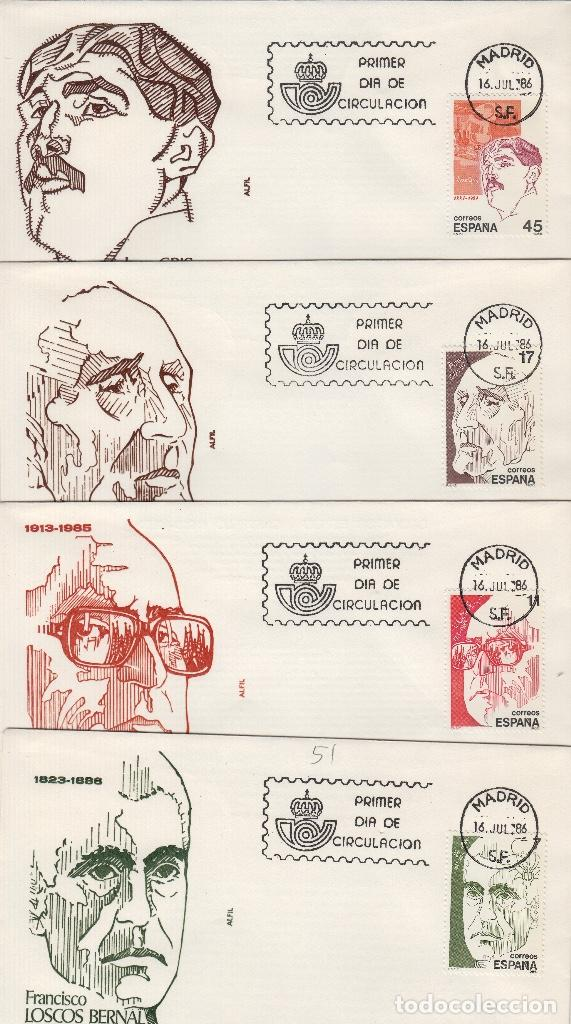 1986 ED 2853/6 PERSONAJES , BERNAL S. ESPRIU , AZORÍN , JUAN GRIS . SOBRE ALFIL PRIMER DIA SPD (Sellos - Historia Postal - Sello Español - Sobres Primer Día y Matasellos Especiales)