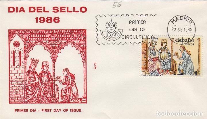 1986 ED 2857 DIA DEL SELLO , . SOBRE ALFIL PRIMER DIA SPD (Sellos - Historia Postal - Sello Español - Sobres Primer Día y Matasellos Especiales)