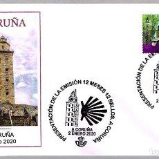 Sellos: MATASELLOS PRESENTACION - 12 MESES 12 SELLOS - TORRE DE HERCULES. A CORUÑA, GALICIA, 2020. Lote 221951415