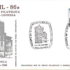 Sellos: PALACIO DE MONTERREY EXPOSICION CASTELLANO LEONESA, SALAMANCA 1986. MATASELLOS RARO SOBRE ILUSTRADO.. Lote 222567748
