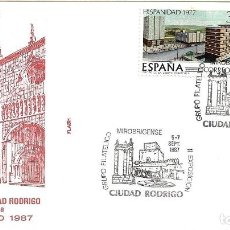 Sellos: GRUPO MIROBRIGENSE II EXPOSICION, CIUDAD RODRIGO (SALAMANCA) 1987. MATASELLOS SOBRE FLASH CATEDRAL.. Lote 222605658