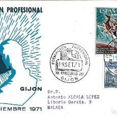 Sellos: FORMACION PROFESIONAL XX CONCURSO, GIJON (ASTURIAS) 1971. RARO MATASELLOS EN SOBRE CIRCULADO ALFIL.. Lote 222607178
