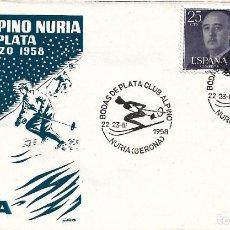 Sellos: DEPORTES ESQUI BODAS DE PLATA CLUB ALPINO, NURIA (GERONA) 1958. MATASELLOS SOBRE SIN CIRCULAR ALFIL. Lote 222659647