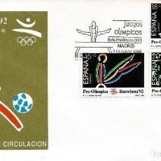 Sellos: EDIFIL 3025/27 BARCELONA'92 SERIE PREOLÍMPICA - PRIMER DÍA. Lote 222689586