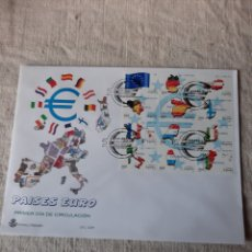 Sellos: PAUSES EURO 1999 BANDERAS MAPAS EDIFIL 3632/3643 MATASELLO PRIMER DÍA CIRCULACIÓN SFC 12 /99. Lote 222728740