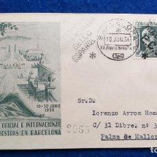 Sellos: SOBRE XVII FERIA OFICIAL E INTERNACIONAL DE MUESTRAS. BARCELONA, 1950. SELLO DE FRANCO. Lote 222868320