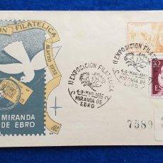 Sellos: SOBRE. MARZO 1952. EXPOSICION FILATELICA MIRANDA DEL EBRO. SELLO LOPE DE VEGA, ISABEL LA CATOLICA. Lote 223021632