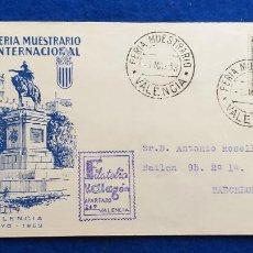 Sellos: SOBRE XXXI FERIA MUESTRARIO INTERNACIONAL DE VALENCIA. AÑO 1953. MATASELLOS Y SELLO. Lote 223101810