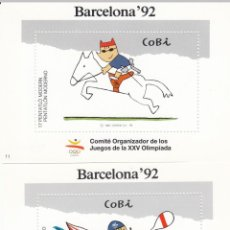 Sellos: OLIMPIADAS BARCELONA 1992 2 VIÑETAS DE COBI NUMS 11 Y 12. Lote 223104517