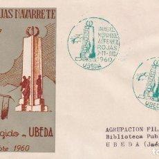 Sellos: INAUGURACION MONUMENTO ALFEREZ ROJAS NAVARRETE UBEDA JAEN 1960 MATASELLOS VERDE SOBRE ALFIL MUY RARO. Lote 223230601