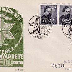 Sellos: INAUGURACION MONUMENTO ALFEREZ ROJAS NAVARRETE, UBEDA (JAEN) 1960. MATASELLOS EN SOBRE EG. MUY RARO.. Lote 223230708