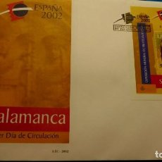 Sellos: SOBRE DE PRIMER DIA. 2002 HB EXPOSICIÓN MUNDIAL FILATELIA SALAMANCA. Lote 224805910