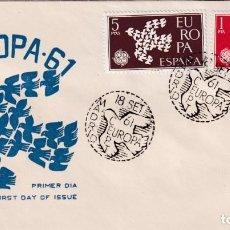 Sellos: PALOMA PALOMAS EUROPA CEPT 1961 (EDIFIL 1371/72) EN SOBRE PRIMER DIA DE TOPO. RARO ASI. MPM.. Lote 225522797