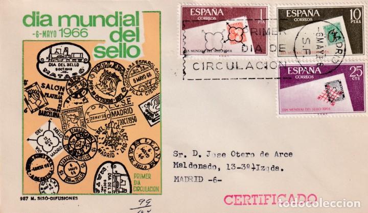 DIA MUNDIAL DEL SELLO 1966 (EDIFIL 1723/25) EN SOBRE PRIMER DIA CIRCULADO DE MS. BONITO Y RARO ASI. (Sellos - Historia Postal - Sello Español - Sobres Primer Día y Matasellos Especiales)