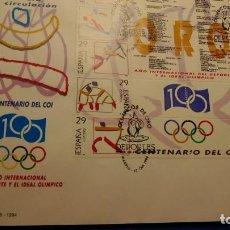 Sellos: SOBRE PRIMER DIA, 1994 MADRID. DEPORTES - PALMARES - CENTENARIO DEL COI. Lote 225645675