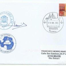 Sellos: MATASELLOS TURÍSTICO ESP. BUQUE DE INVESTIGACIÓN OCEANOGRÁFICA HESPÉRIDES (A-33) FIRMA COMANDANDANTE. Lote 225985885