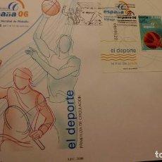 Sellos: SOBRE DEL PRIMER DIA, EXPOSICION MUNDIAL ESPAÑA 06 MALAGA MATASELLOS GASOL Y NADAL, 2006. Lote 226116120