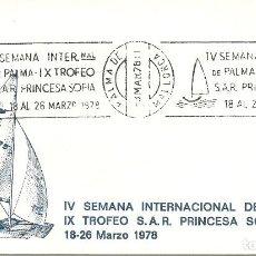 Sellos: SOBRE CANCELADO CON LA IV SEMANA INT. DE PALMA TROFEO PRINCESA SOFIA. Lote 226625784