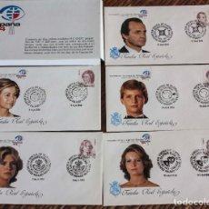 Sellos: FAMILIA REAL 10 SOBRE MODELO B C D E F EXPOSICIÓN MUNDIAL DE FILATELIA 84. Lote 226668480