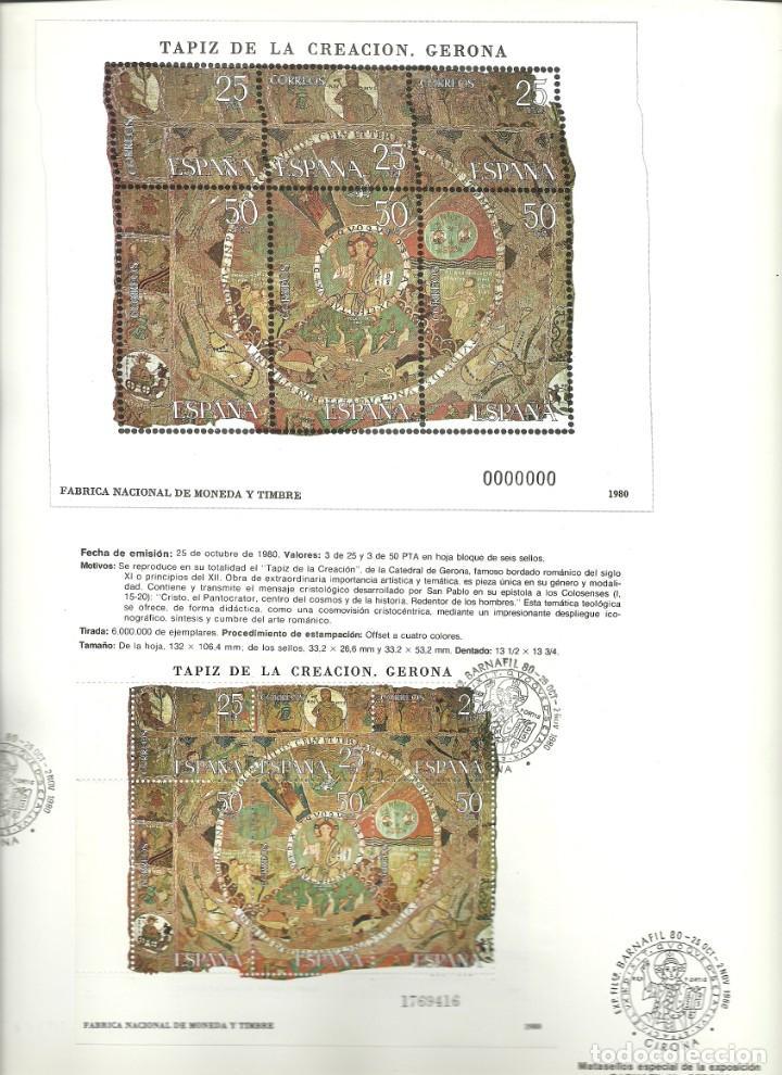 Sellos: Documento filatélico de la FNMT Barnafil 80 , con la HB matasellada , tapiz de la creación - Foto 2 - 226683655