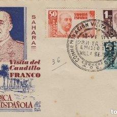 Sellos: SAHARA . VISITA GRAL FRANCO , AÑO 1951 ED 88/90 - SOBRE PRIMER DIA CIRCULADO , D. PANFILATÉLICAS. Lote 226793970