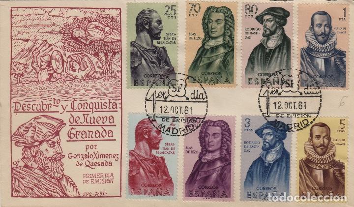 1961 - FORJADORES DE AMÉRICA Nº 1374/81 . EN SOBRE /SPD PRIMER DIA SFC RAROS ASÍ (Sellos - Historia Postal - Sello Español - Sobres Primer Día y Matasellos Especiales)