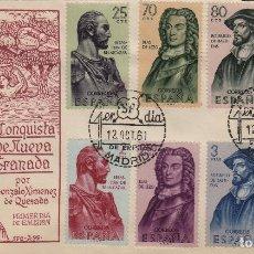 Sellos: 1961 - FORJADORES DE AMÉRICA Nº 1374/81 . EN SOBRE /SPD PRIMER DIA SFC RAROS ASÍ. Lote 227042900