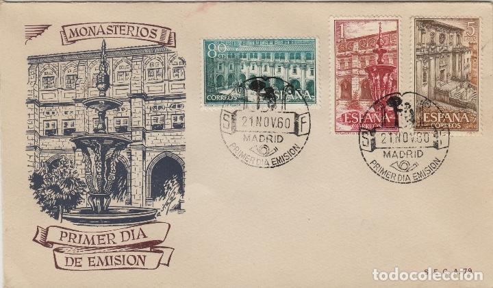 1960 - REAL MONASTERIO DE SAMOS LUGO Nº 1322/24 EN SOBRE/SPD PRIMER DIA SFC MUY RARO (Sellos - Historia Postal - Sello Español - Sobres Primer Día y Matasellos Especiales)