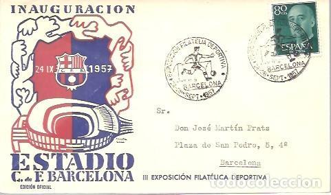 MATASELLOS 1957 C,F BARCELONA (Sellos - Historia Postal - Sello Español - Sobres Primer Día y Matasellos Especiales)