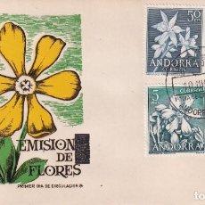 Sellos: ANDORRA ESPAÑOLA FLORES DEL PRINCIPADO 1966 (EDIFIL 68/71) EN SOBRE PRIMER DIA DE MS. RARO ASI.. Lote 227925025