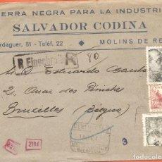Sellos: SOBRE, SALVADOR CODINA-MOLINS DE REY, MATASELLOS MOLINS, 1942, CENSURA GUBERNATIVA, CIRCULADO A BELG. Lote 231991185