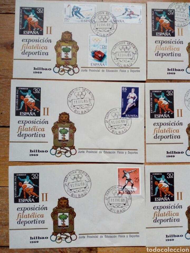 Sellos: LOTE 9 sobres - II EXPOSICION FILATELICA DEPORTIVA BILBAO 1969 (11/12-12-1969) - Foto 3 - 232924325
