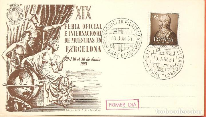 SPD -FDC ESPAÑA, EXPOSICIÓN FILATÉLICA BARCELONA 1951, PRIMER DIA (Sellos - Historia Postal - Sello Español - Sobres Primer Día y Matasellos Especiales)