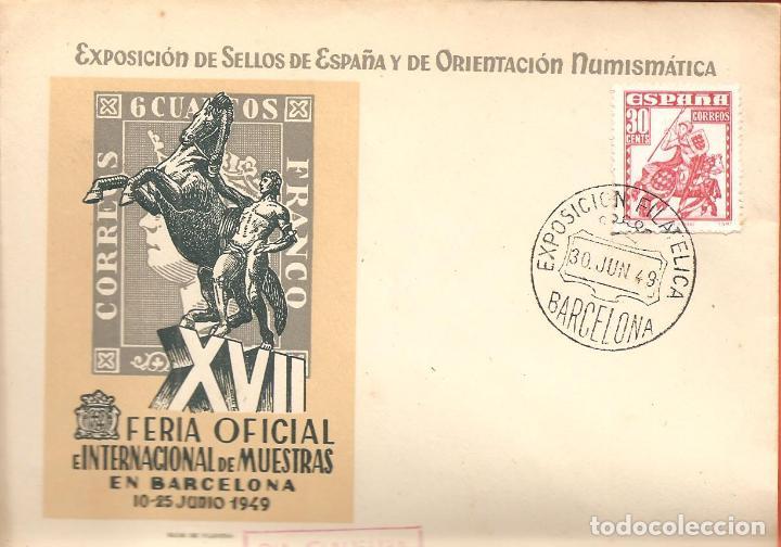 SPD -FDC ESPAÑA, EXPOSICIÓN DE SELLOS Y DE ORIENTACION NUMISMATICA BARCELONA 1949, DIA CLAUSURA (Sellos - Historia Postal - Sello Español - Sobres Primer Día y Matasellos Especiales)